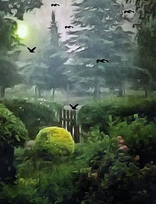 Mixed Media Royalty Free Images - Mystical Garden Royalty-Free Image by Romuald  Henry Wasielewski
