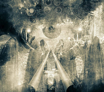 Surrealism Royalty-Free and Rights-Managed Images - Mystical Priests by Bruce Rolff