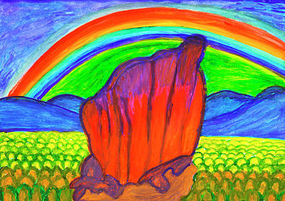 Painting - Mystical Rock Under The Rainbow by Dobrotsvet Art