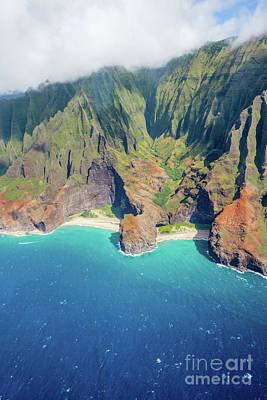 Photograph - Na Pali Coast State Park Aerial View Kauai Hawaii by Christy Woodrow
