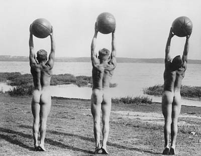 Naked Photograph - Naked Ball Exercise by General Photographic Agency