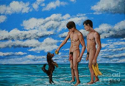 Painting - Naked Bathers Fetching The Ball With The Dog by Christopher Shellhammer