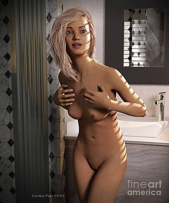 Digital Art - Naked Female Bath by Gordon Punt