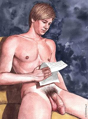 Painting - Naked Male Reading A Letter From Chris by Christopher Shellhammer