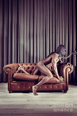 Naked Man With Mask On A Sofa Art Print