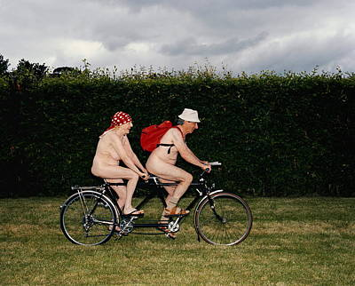 Couple Photograph - Naked Mature Couple Riding Tandem by Chris Craymer
