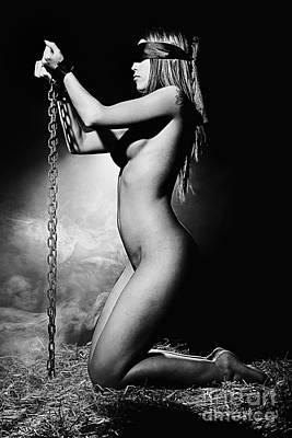 Photograph - Naked Woman Bound With Medieval Shackles. Image In Black And Whi by William Langeveld