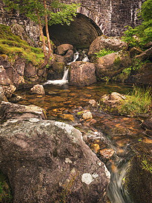 Elliott Coleman Royalty-Free and Rights-Managed Images - Nant Gaws Waterfall and Old Stone Bridge by Elliott Coleman