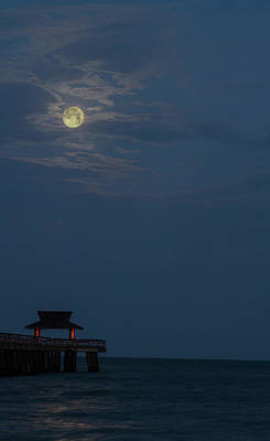 1-war Is Hell Royalty Free Images - Naples Pier Full Moon 2019 Royalty-Free Image by Joey Waves