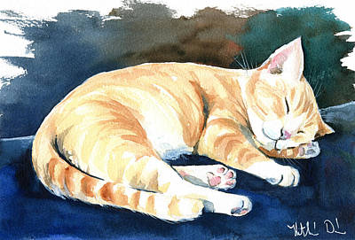 Painting - Naptime Cat Painting by Dora Hathazi Mendes