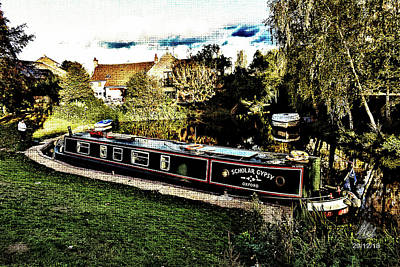 Mountain Landscape Royalty Free Images - Narrowboat Royalty-Free Image by Mel Beasley