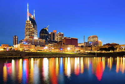 Royalty-Free and Rights-Managed Images - Nashville Blue Hour Skyline - Cumberland River Tennessee Art by Gregory Ballos