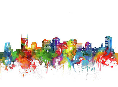 Nashville Skyline Wall Art - Digital Art - Nashville City Skyline Watercolor by Bekim Art