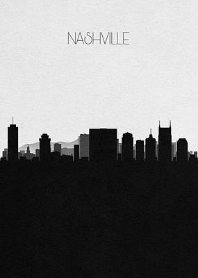 Nashville Skyline Wall Art - Digital Art - Nashville Cityscape Art by Inspirowl Design