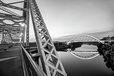 Photograph - Nashville Korean Veterans Memorial Bridge From Pedestrian Bridge - Monochrome by Gregory Ballos