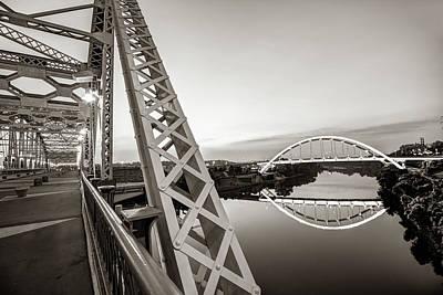 Photograph - Nashville Korean Veterans Memorial Bridge From Pedestrian Bridge - Sepia by Gregory Ballos