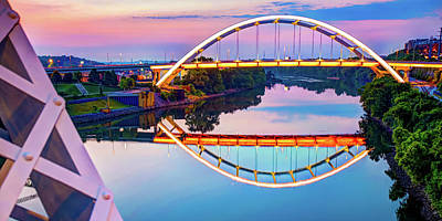 Royalty-Free and Rights-Managed Images - Nashville Korean Veterans Memorial Bridge Panorama by Gregory Ballos