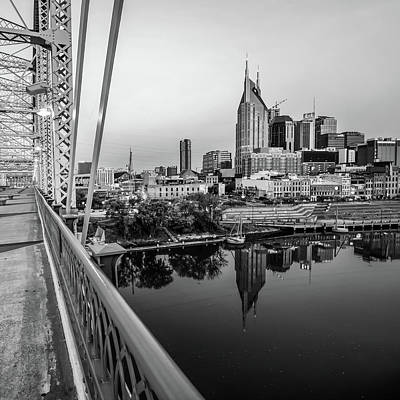 Photograph - Nashville Monochrome Skyline From The Pedestrian Bridge by Gregory Ballos