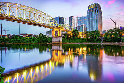 Photograph - Nashville Shelby Street Bridge Over Cumberland River At Dusk by Gregory Ballos