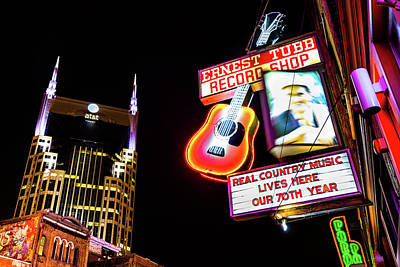 Photograph - Nashville Skyline And Broadway Neon Lights by Gregory Ballos