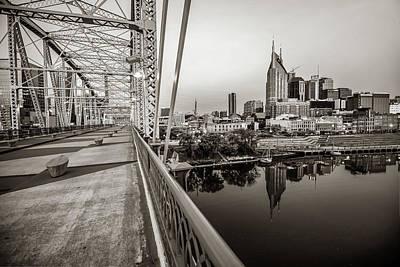 Photograph - Nashville Skyline And Pedestrian Bridge In Sepia by Gregory Ballos