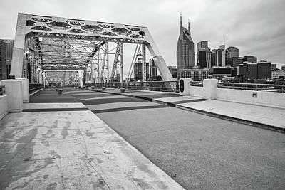 Comedian Drawings - Nashville Skyline And Pedestrian Bridge - Monochrome by Gregory Ballos