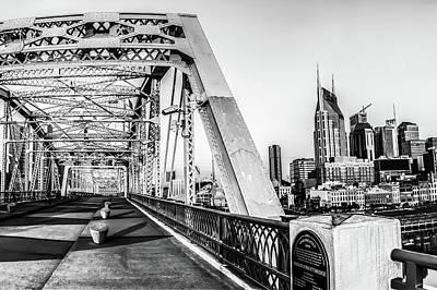 Photograph - Nashville Skyline And Shelby Street - John Seigenthaler Pedestrian Bridge - Monochrome by Gregory Ballos