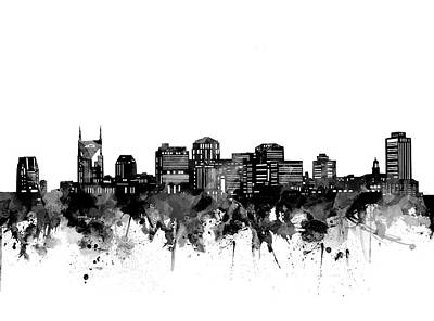 Abstract Skyline Royalty-Free and Rights-Managed Images - Nashville Skyline Bw by Bekim M