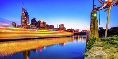 Royalty-Free and Rights-Managed Images - Nashville Skyline From The East Bank Greenway - Panorama by Gregory Ballos