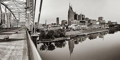 Photograph - Nashville Skyline Panorama From The John Seigenthaler Pedestrian Bridge - Classic Sepia by Gregory Ballos