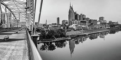 Photograph - Nashville Skyline Panorama From The John Seigenthaler Pedestrian Bridge - Monochrome by Gregory Ballos