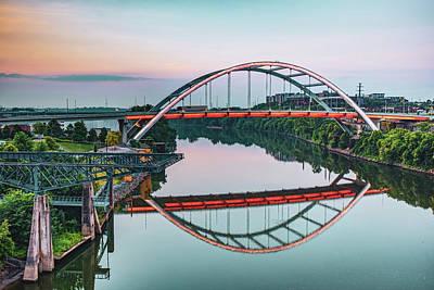 Photograph - Nashville Tennessee Korean War Veterans Bridge At Dawn by Gregory Ballos