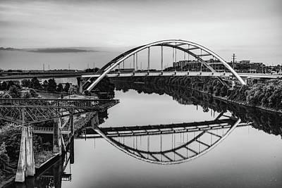 Photograph - Nashville Tennessee Korean War Veterans Bridge At Dawn - Monochrome by Gregory Ballos