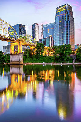 Photograph - Nashville Tennessee Shelby Street Bridge Over Cumberland River by Gregory Ballos