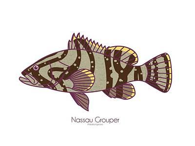 Digital Art - Nassau Grouper by Kevin Putman