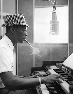 Los Angeles Kings Photograph - Nat King Cole Recording by Michael Ochs Archives