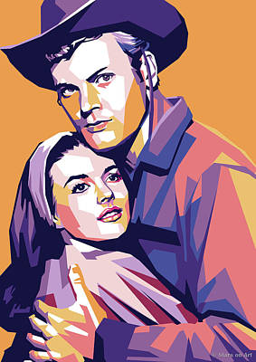 Line Drawing Quibe - Natalie Wood and Tab Hunter by Stars on Art