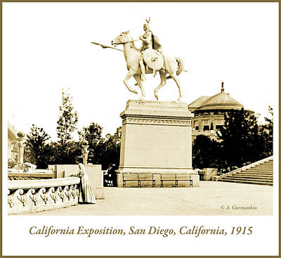 Photograph - Native American Statue, California Exposition, 1915 by A Gurmankin
