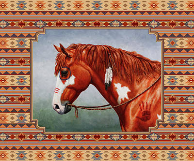 Animals Royalty-Free and Rights-Managed Images - Native American War Horse Southwestern Pillow by Crista Forest