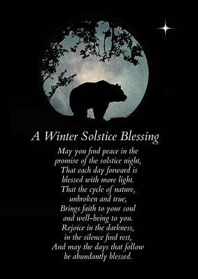 Winter Solstice Wall Art - Photograph - Native American Winter Solstice Blessings With Bear by Stephanie Laird