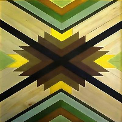 Painting - Navaho Vibes Geometric Pattern - Black Brown Yellow by Taiche Acrylic Art