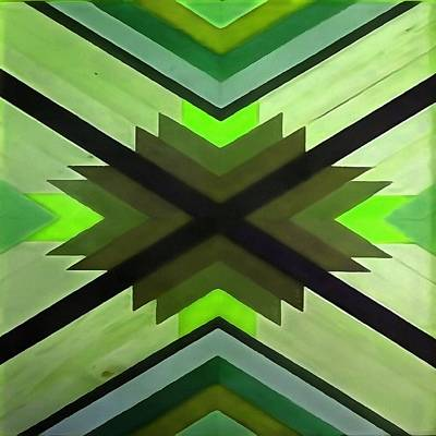 Digital Art - Navaho Vibes Geometric Pattern Black Olive Lime by Taiche Acrylic Art
