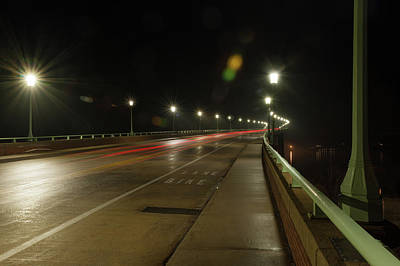Photograph - Naval Academy Bridge At Night by Mark Duehmig
