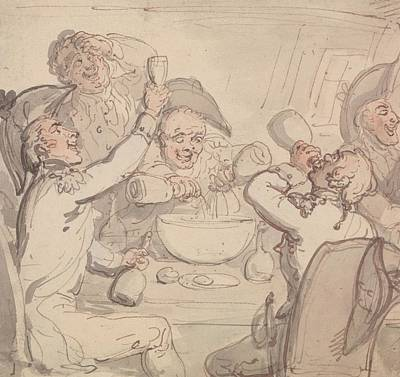 Drawing - Naval Officers And A Bowl Of Punch by Thomas Rowlandson