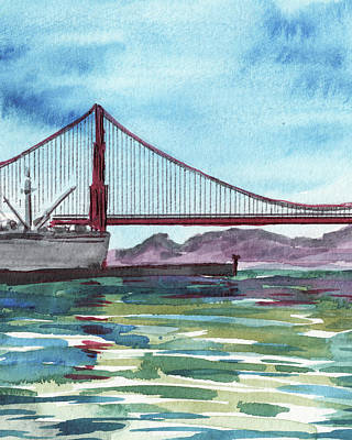 Royalty-Free and Rights-Managed Images - Naval Ship At Golden Gate Bridge Watercolor by Irina Sztukowski