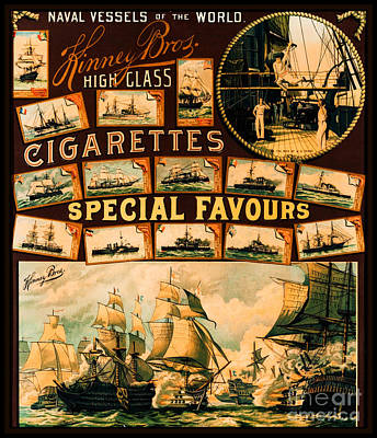 Painting - Naval Vessels Of The World Including Ss Texas Kinney Brothers Cigarettes 1888 by Unknown