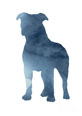 Painting - Navy Blue Pitbull Silhouette Standing Facing Left  by Joanna Szmerdt