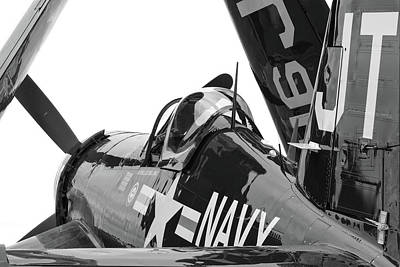 Photograph - Navy Corsair In Black And White by Chris Buff