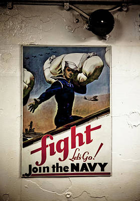 Photograph - Navy Poster Fight  by Don Johnston
