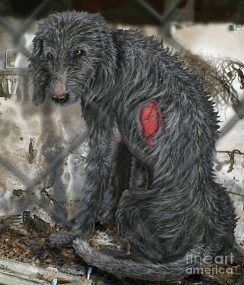 Painting - Neglected Dogs - Abused Animals - Misshandelter Hund - Verwahrloster Hund - Fineart - Stock Image by Urft Valley Art